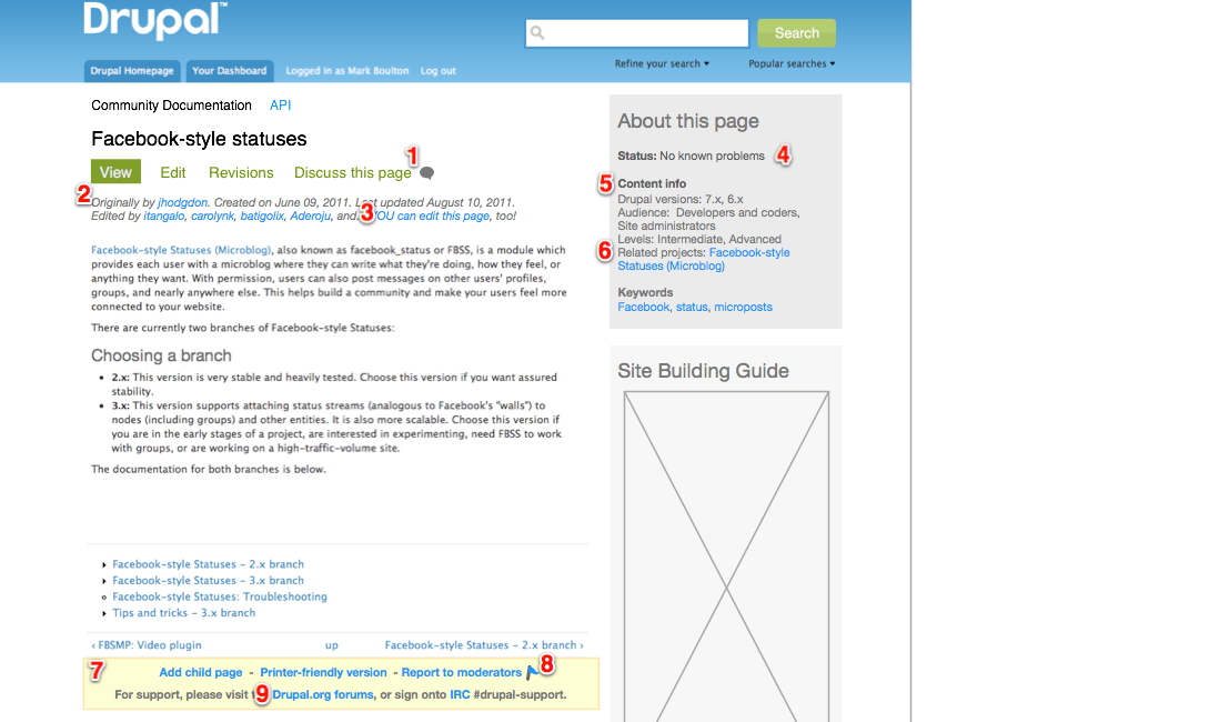 mockup of a docs page with redesigned meta-info block and new links for editing and discussing the page