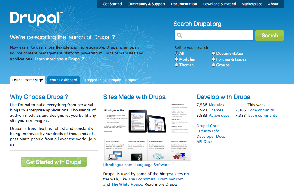Создание сайтов на основе drupal