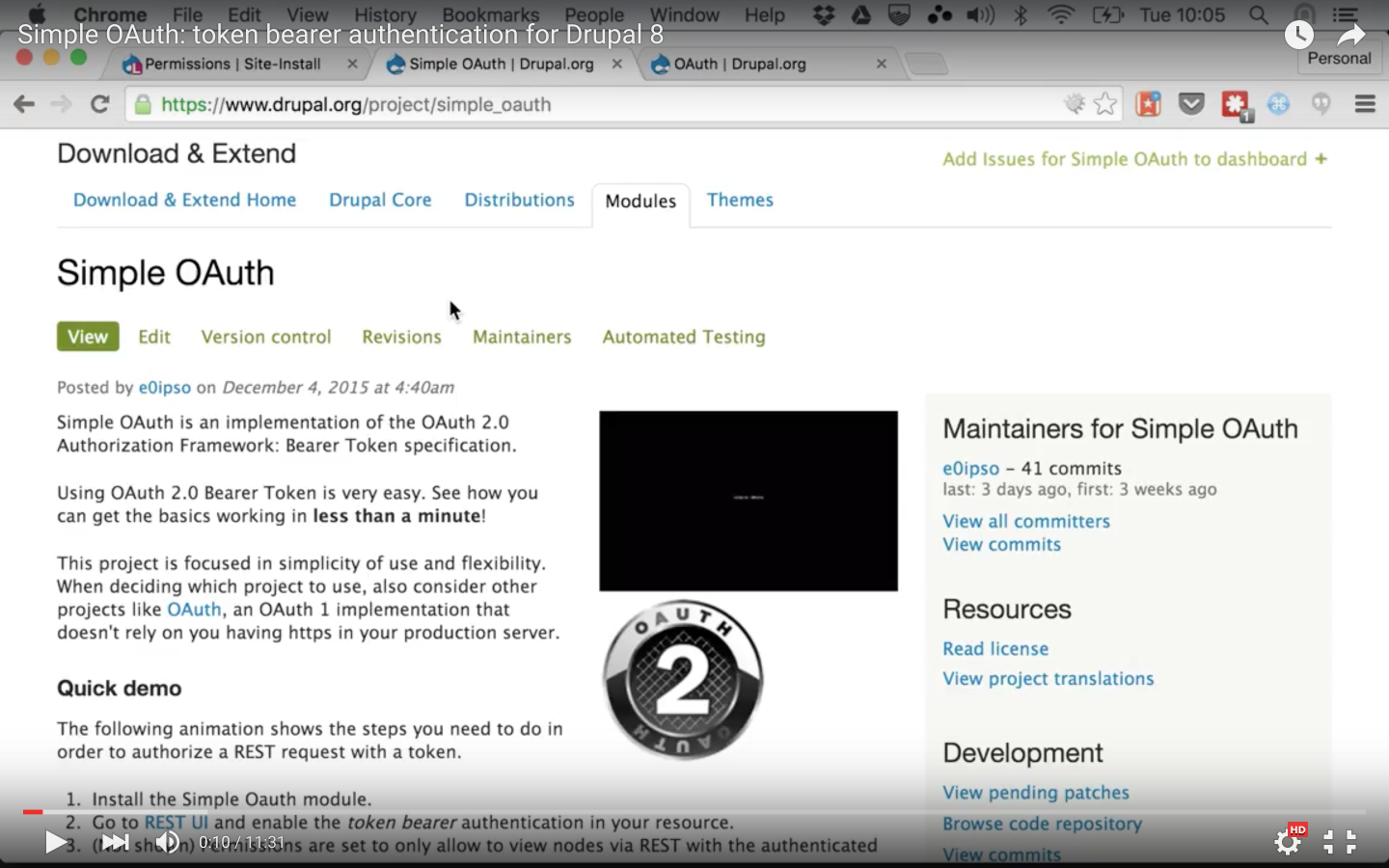 Simple OAuth: token bearer authentication for Drupal 8