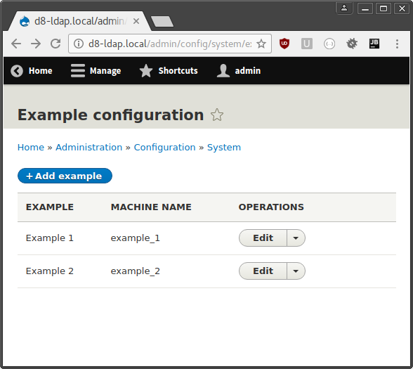 Screenshot of example configuration form
