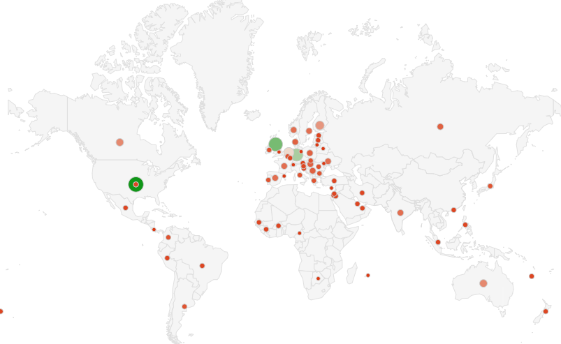 World map showing locations of survey respondents with green and red dots