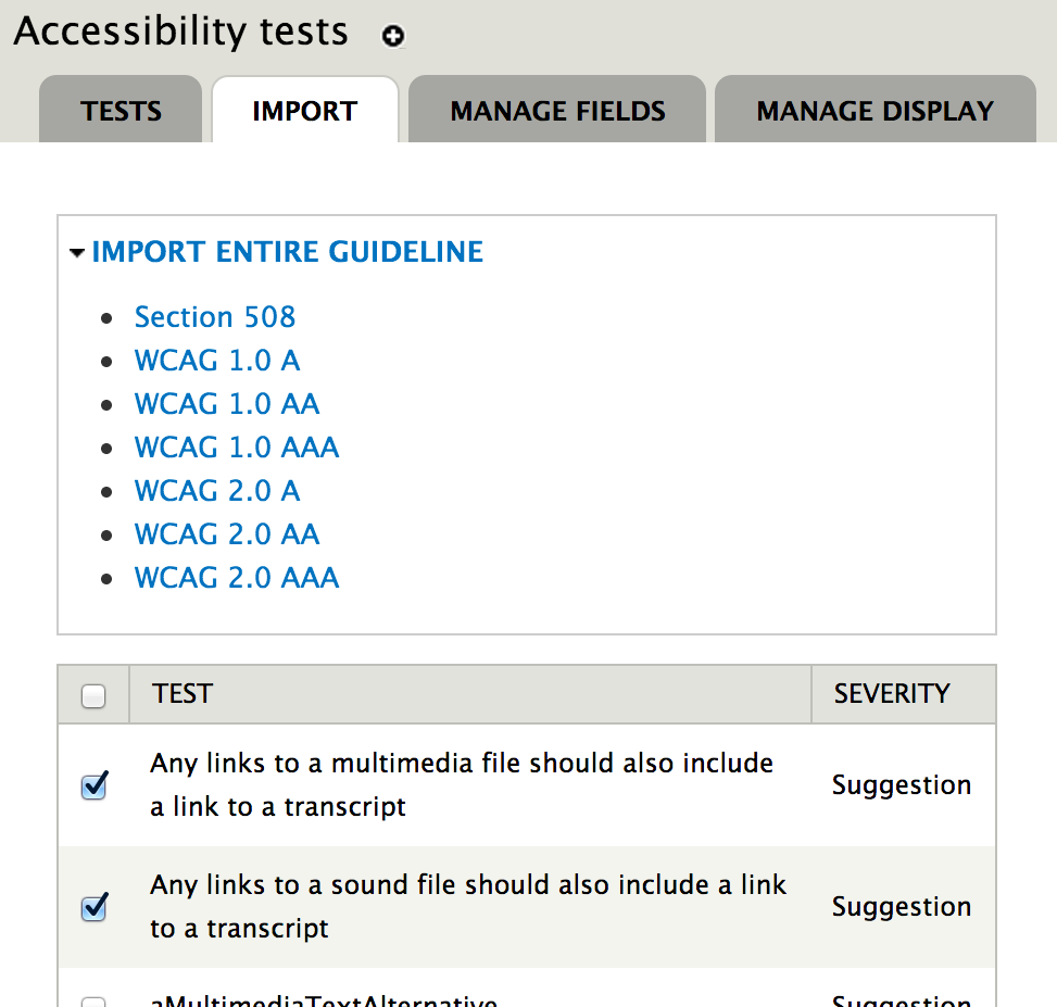 The import test page, listing available tests.