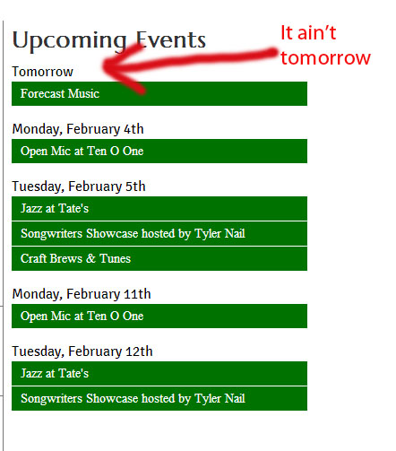 Events are displaying in the wrong date -- a day earlier (D7