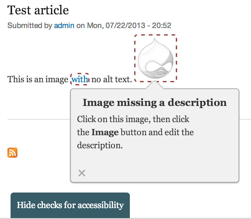 When tests are enabled for the current user, a tab appears in the lower-left of the page allowing them to toggle them.