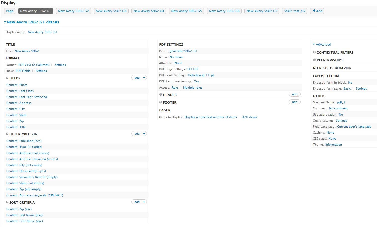 drupal set views pdf page to inches