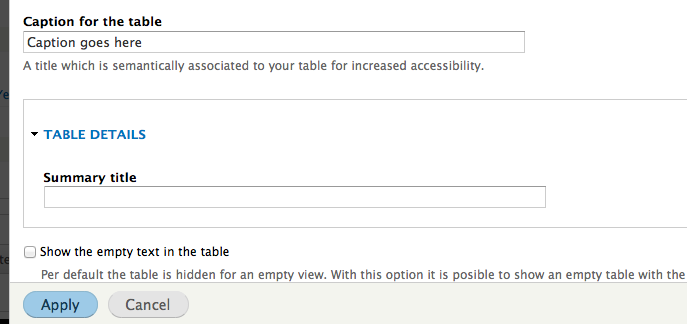 Add option to set caption & remove summary in the html table