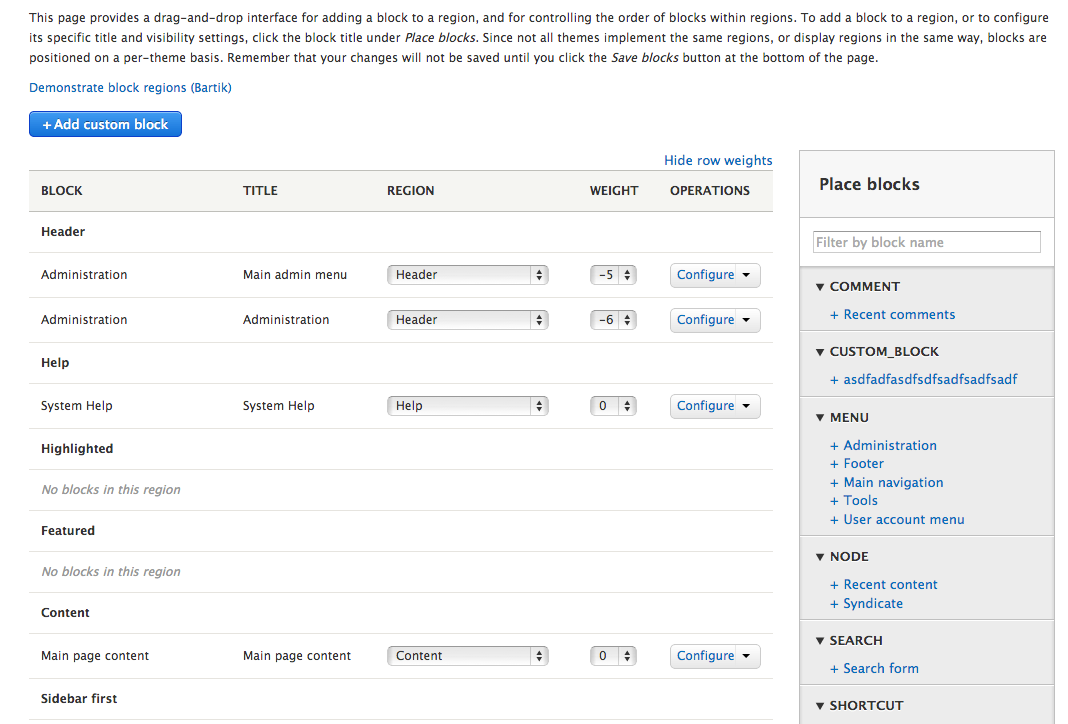 Screenshot of the blocks UI page. A column Title has been added to the right of the Block column.