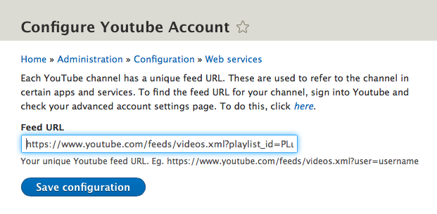 Configure YouTube Account
