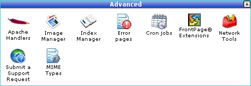 Part of the cPanel main screen showing the advanced section containing the cron jobs icon