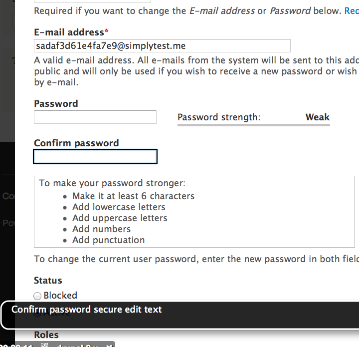 Confirm password secure edit text