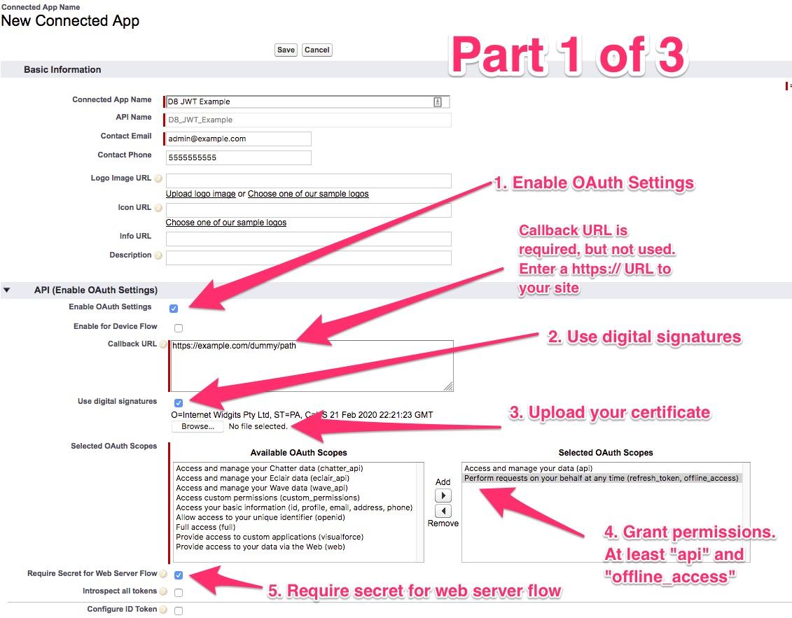 Create a OAuth JWT Bearer Token flow connected app (4 x