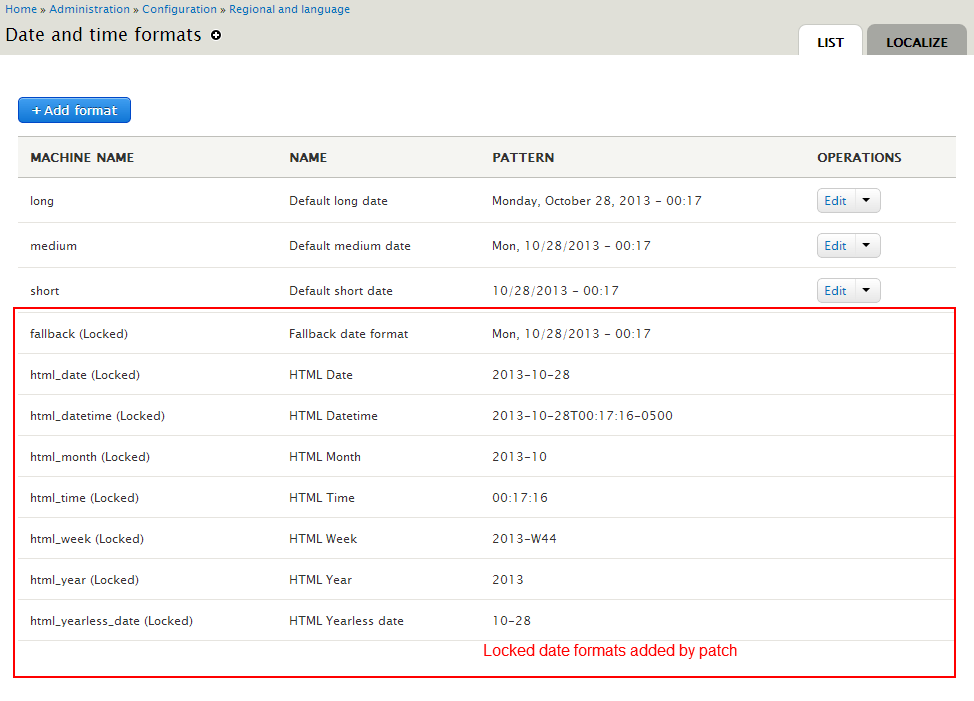 Show locked date formats in the UI [#2119903] | Drupal org