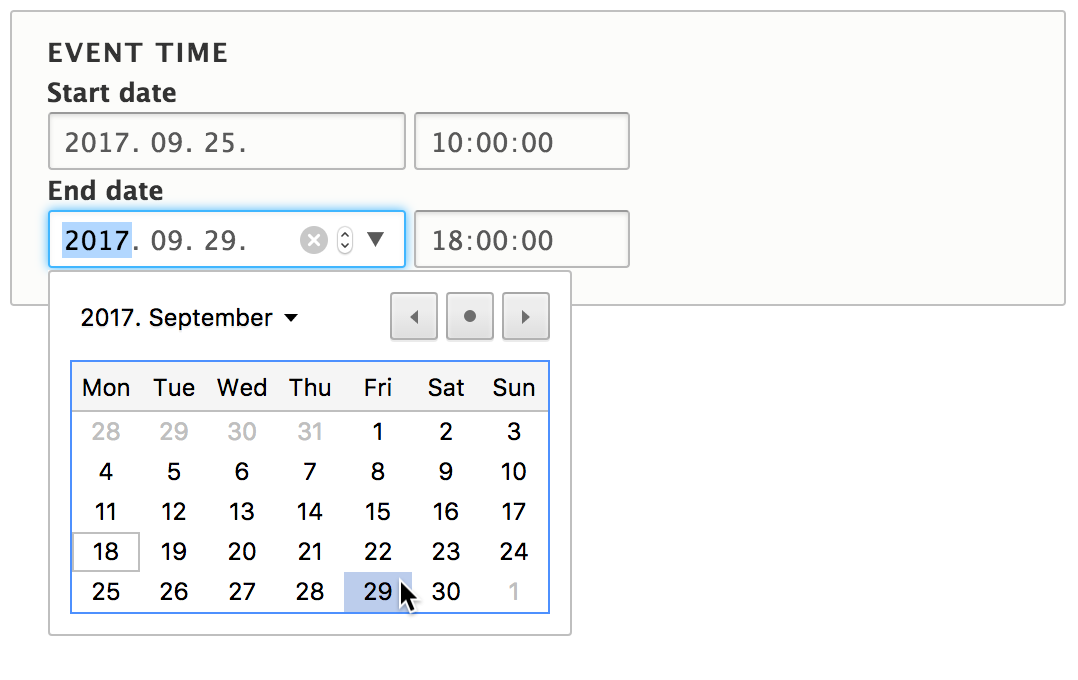 Screenshot showing form elements to specify start and end dates.