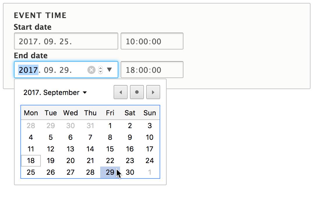 Снимок экрана, показывающий элементы формы, укзывающие начальные и конечные даты.