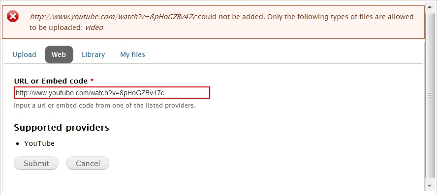 Cannot add youtube video: file type error?!? [#1245686