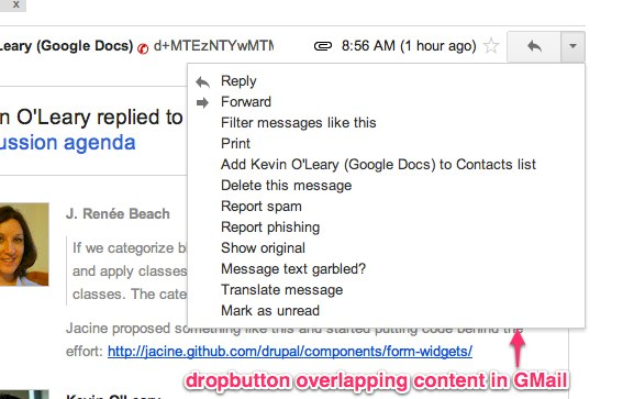 Screenshot of a dropbutton in GMail, shown expanded, overlapping page content.
