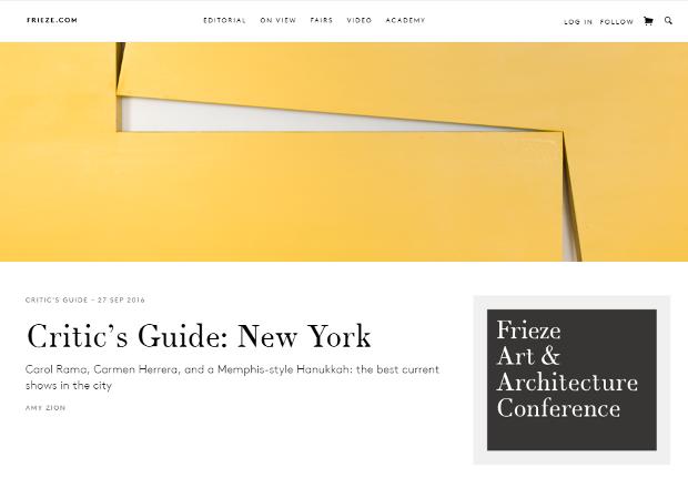 Frieze.com home page screenshot