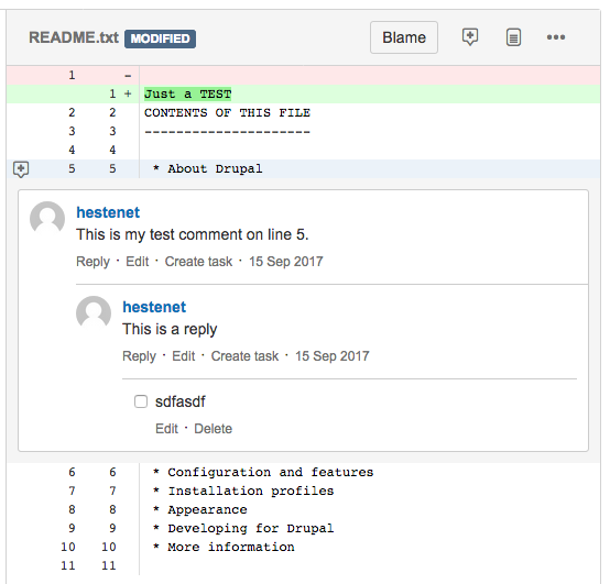 Code review tools and comments