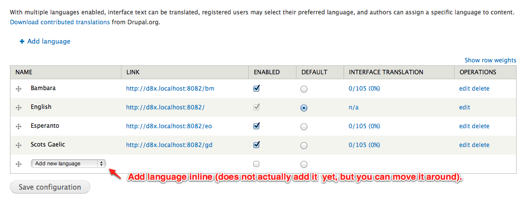 Move add language action to inline table form item like - Move table rows up and down using jquery ...