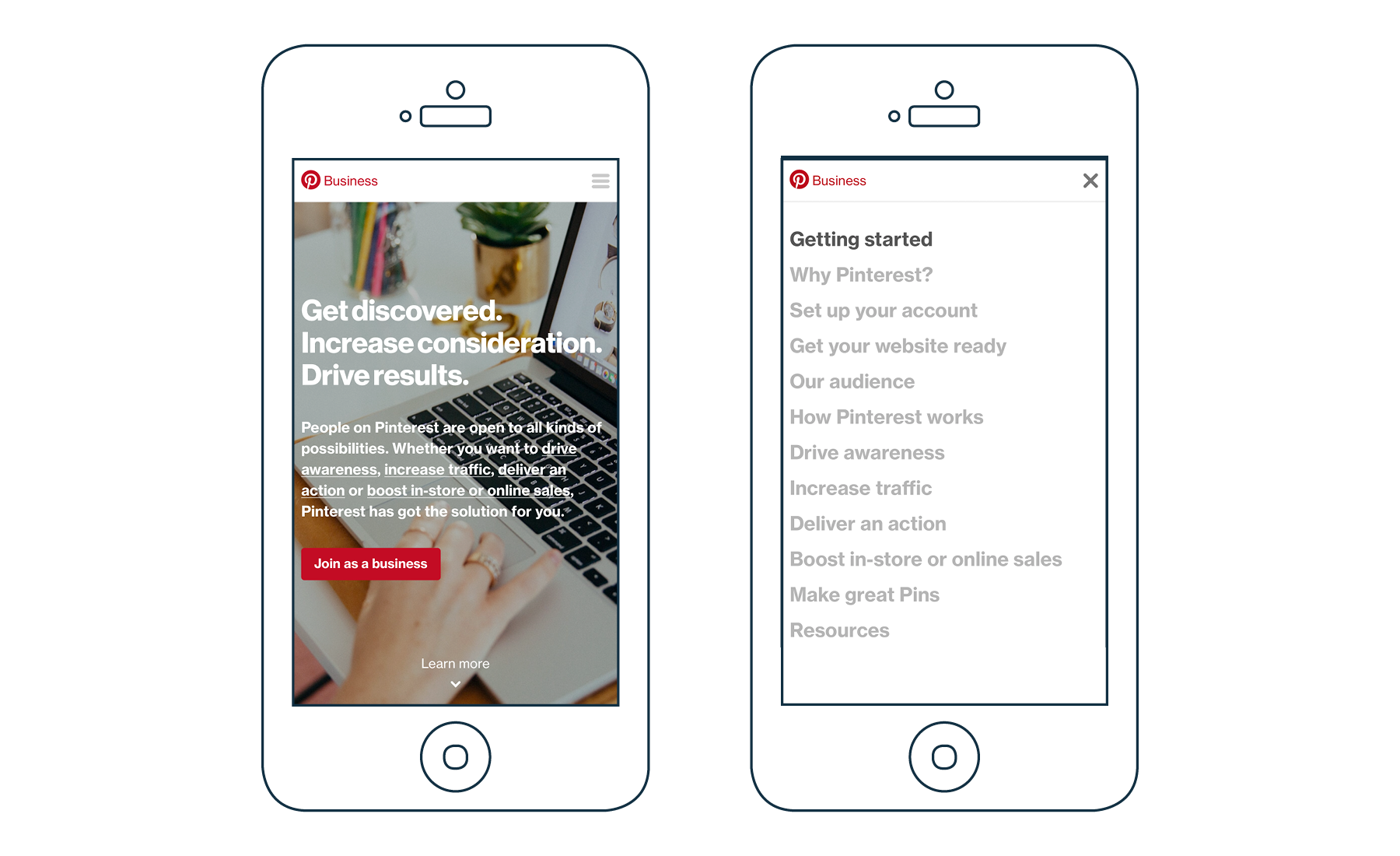 Pinterest for Business homepage on mobile