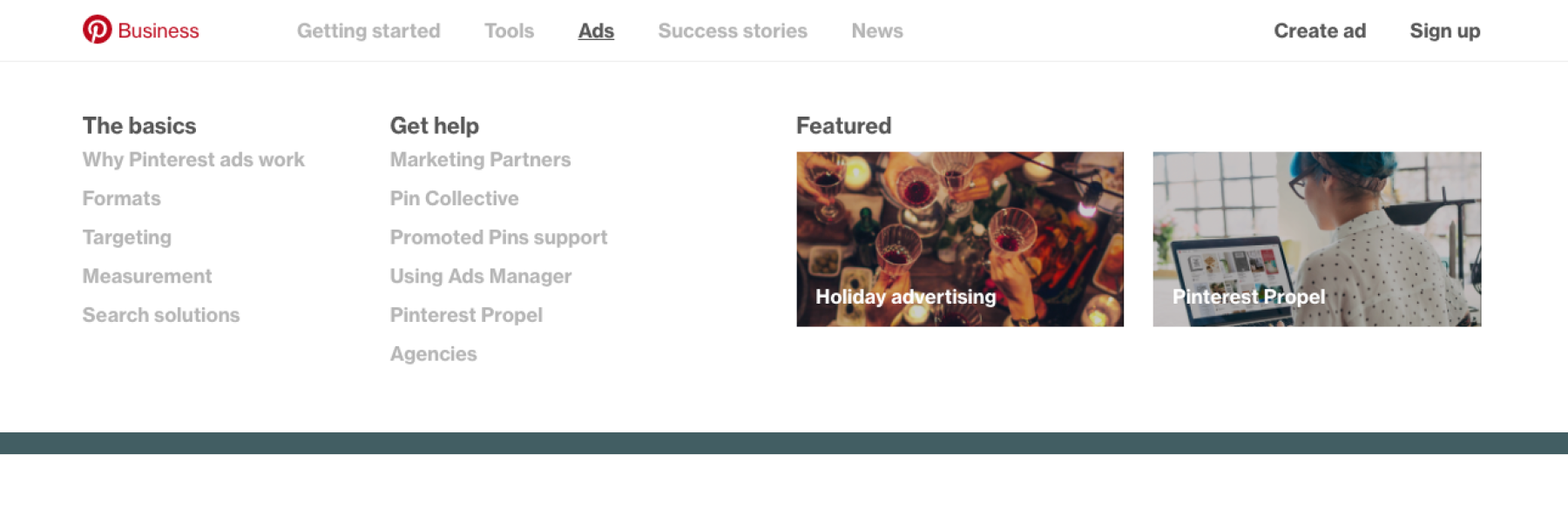 Pinterest for Business Nav Menu