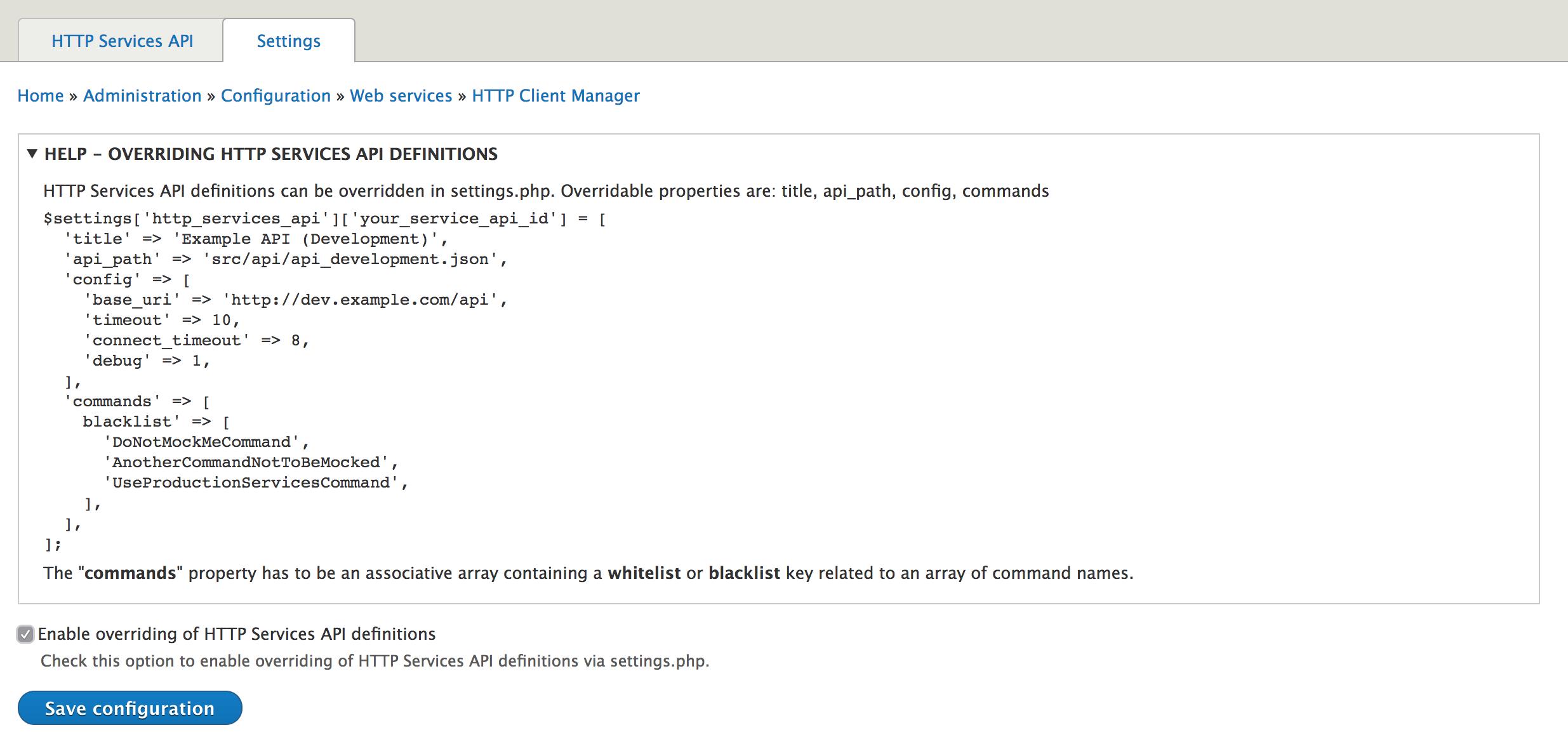 Overriding HTTP Services API | Drupal 8 guide on Drupal org
