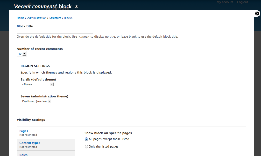 D7 configure blocks screen
