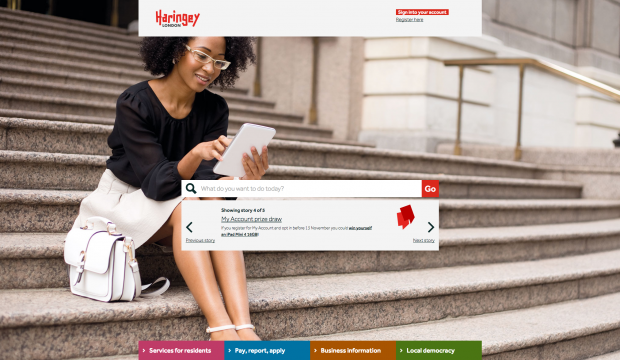 Homepage of Haringey Council website