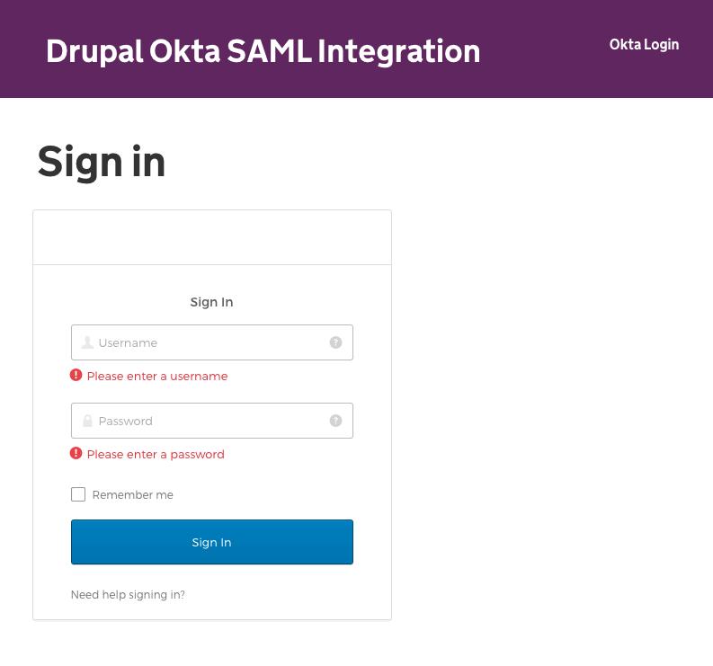 Okta SAML Integration | Drupal org