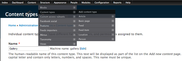 Adding galleriffic_gallery content type