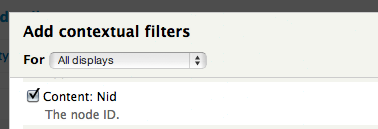 adding contextual filter