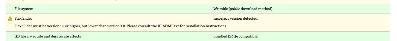 Drupal Status Report shows Flex Slider - Incorrect Version Detected