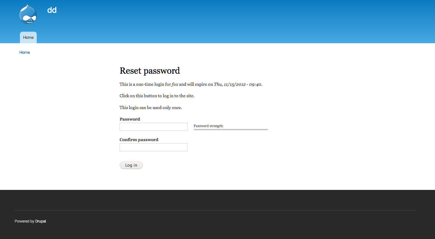 Include fields for resetting password on the one-time