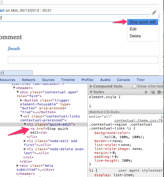 A screenshot of a contextual link set opened to show the quick edit link. The developer tools are open to show that the link is an anchor tag and not a button tag.