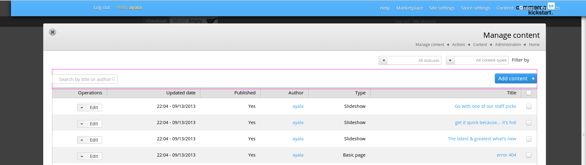Html elements overlap in Manage content\products\orders