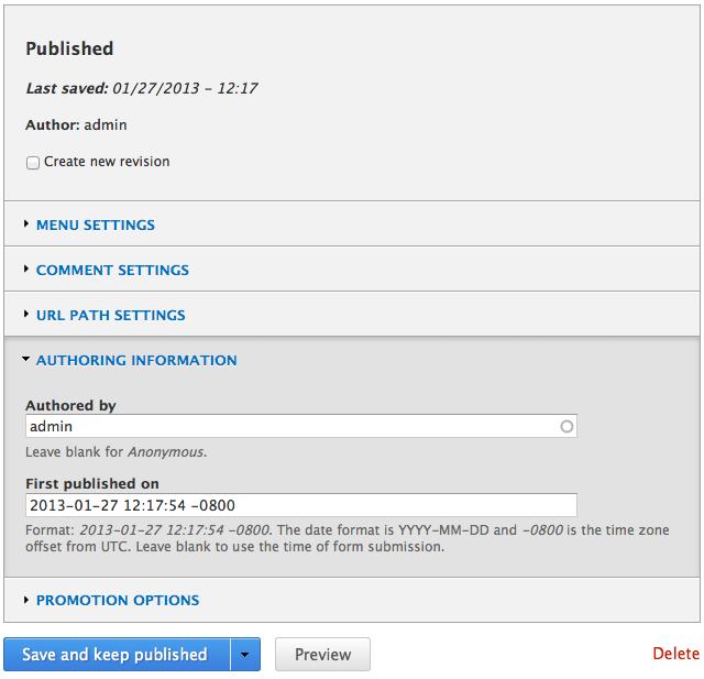 Add 'published' timestamp to nodes [#1838918] | Drupal org