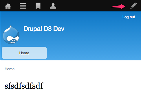 Screenshot of a Drupal 8 site with an arrow pointing to the Edit mode toggle in the toolbar.