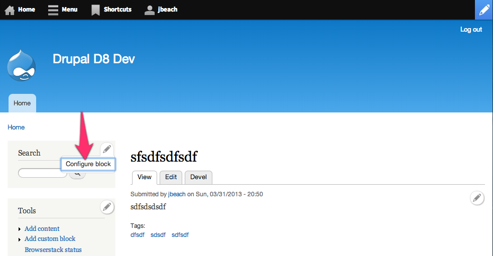 Screenshot of a Drupal 8 site. An arrow points to the Configure block action of the Search block contextual link set.