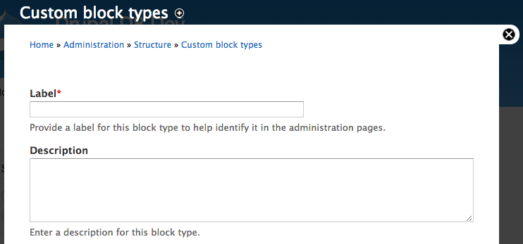 Screenshot of the custom block UI. The fields are labeled incorrectly as label and description.