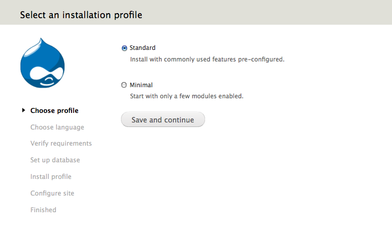 select an installation profile