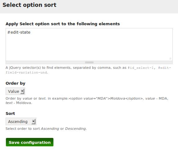 Select option sort [#1884178] | Drupal org