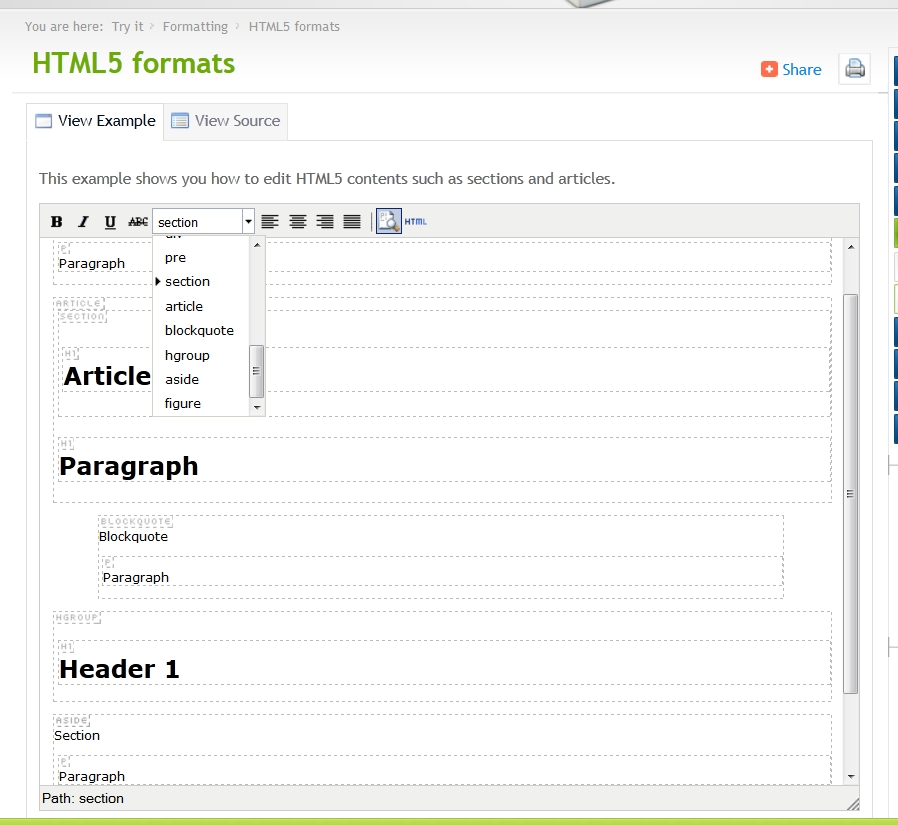 Adding additional Block Formats (e g  HTML5 elements) in CSS