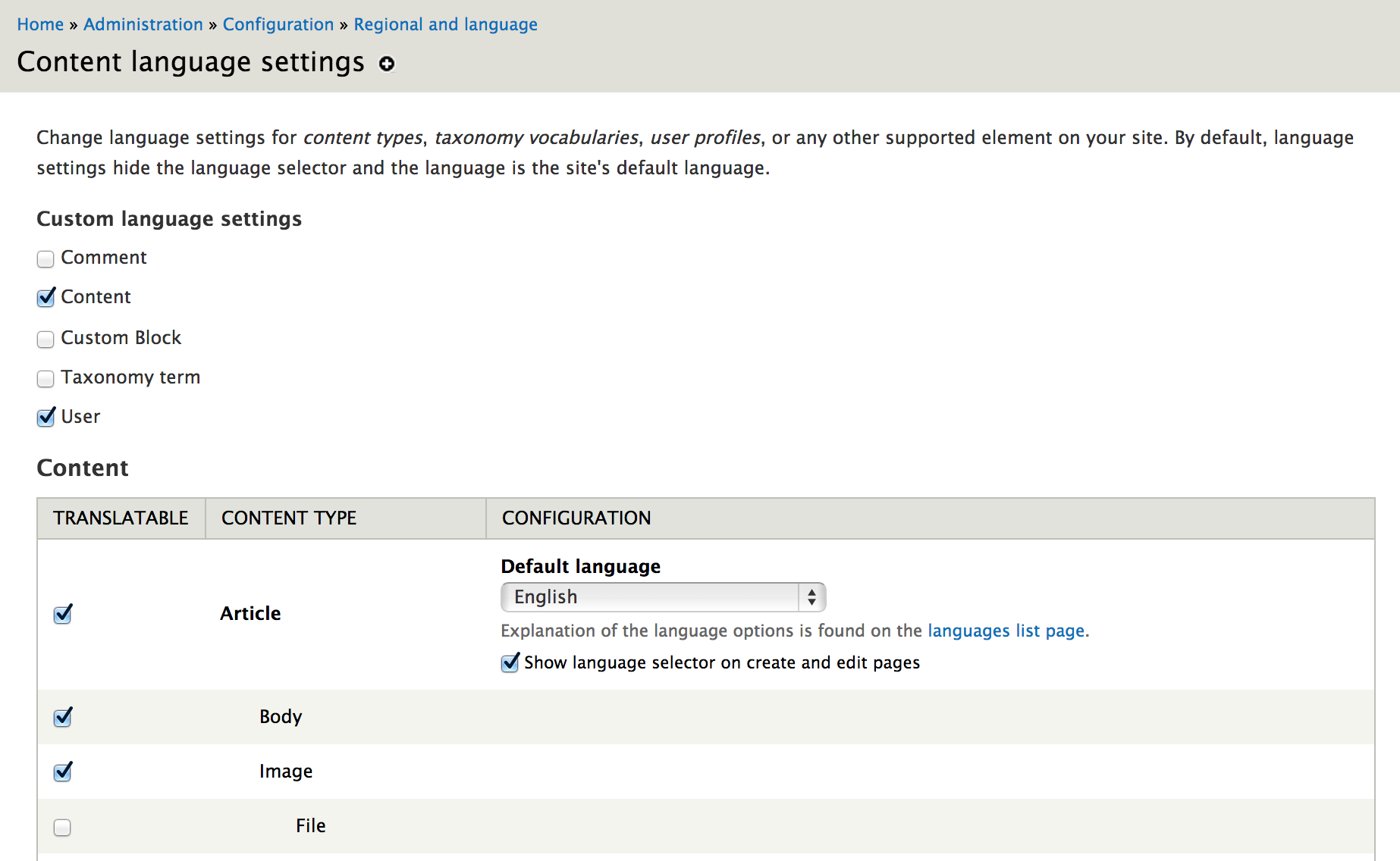 Content language settings config page