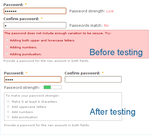 Password strength checking before and after testing