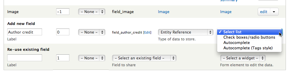Adding an entity reference field to the field UI.