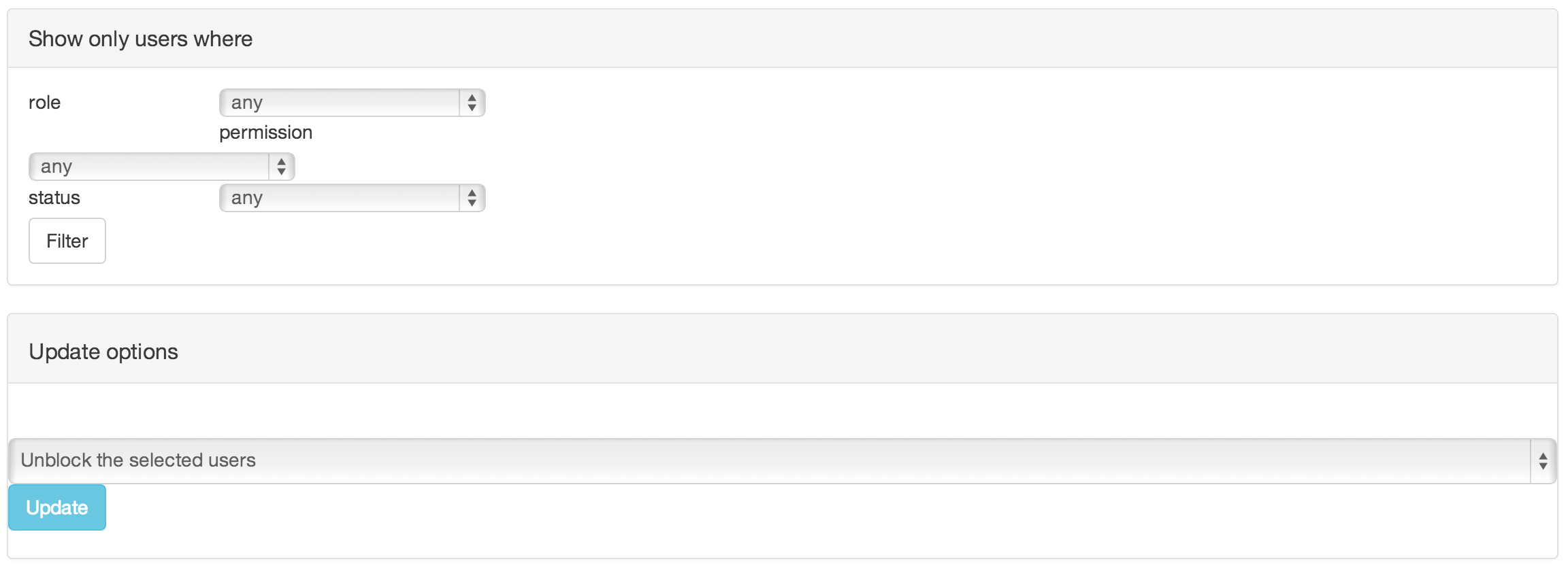 Incorrect alignment of form elements on administer users screen administer users screen with bootstrap theme falaconquin