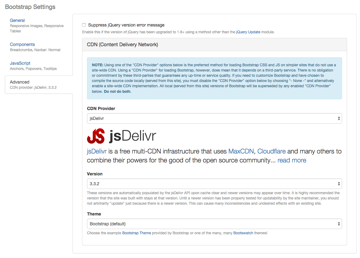 Bootstrap uses jsDelivr as primary CDN provider | Drupal org