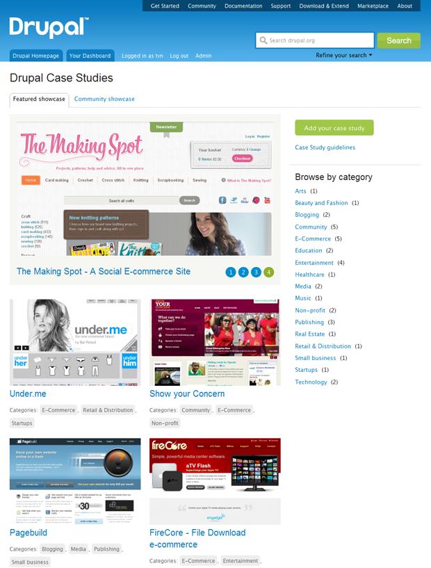 screenshot of case studies page