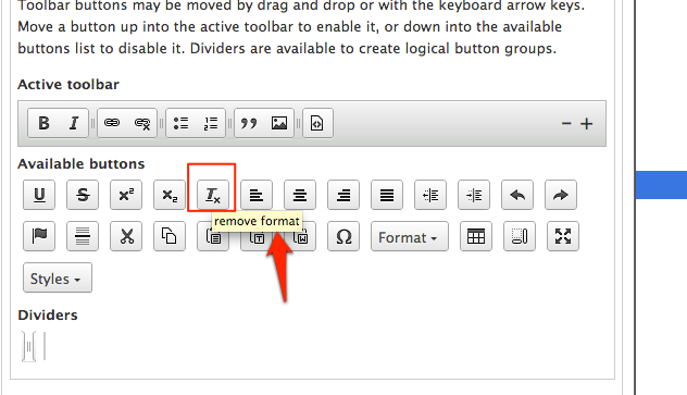 Screenshot of the ckeditor configuration form. A button is hovered and a tooltip describing the button is present.
