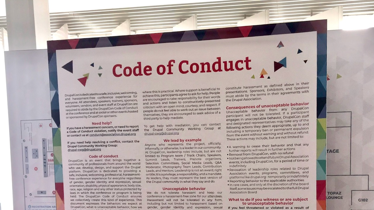 Code of Conduct sign standing up at DrupalCon